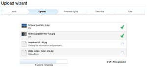 The upload wizard allows multiple files to be uploaded at the same time.