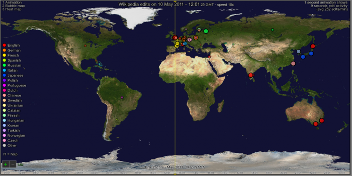 The animation shows a global map of edits made on May 10, 2011.