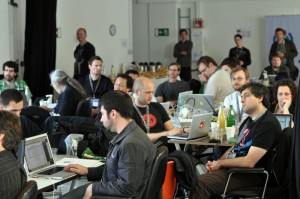 Photo of a room of developers during the Berlin hackathon