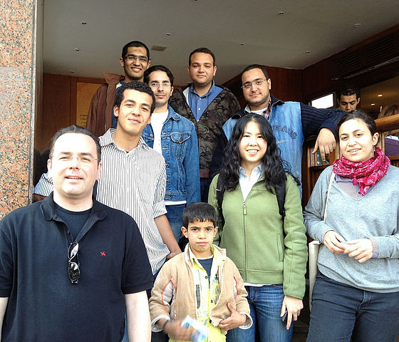 Wikipedia Education Program staff meet with Arabic Wikimedians in Cairo, Egypt, in December 2011.