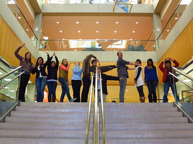 "New Campus Ambassadors from the U.S. program use their bodies to spell ""Wikipedia"" during an orientation in Indianapolis, Indiana, in January 2012."