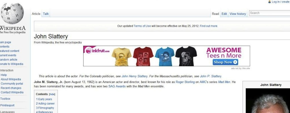 Screenshot of the Wikipedia article on John Slattery, with an advertisement for Inkfruit injected by malware on the user's computer