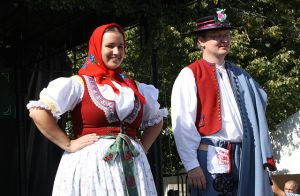 """A folk costume from the """"Moravian Slovakia"""" region, worn traditionally by single girls"""