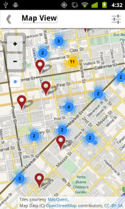 Map view with pins and pin clusters