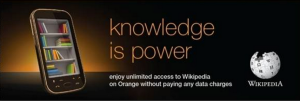 Orange collateral for Wikipedia Zero partnership with the Wikimedia Foundation