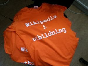 Our Wikipedia in education t-shirts which we use at workshops, conferences and various other events. Orange is the theme colour of the educational program.