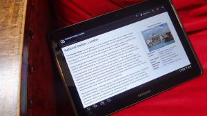 An Android tablet displaying the Kiwix app showing a Wikipedia article