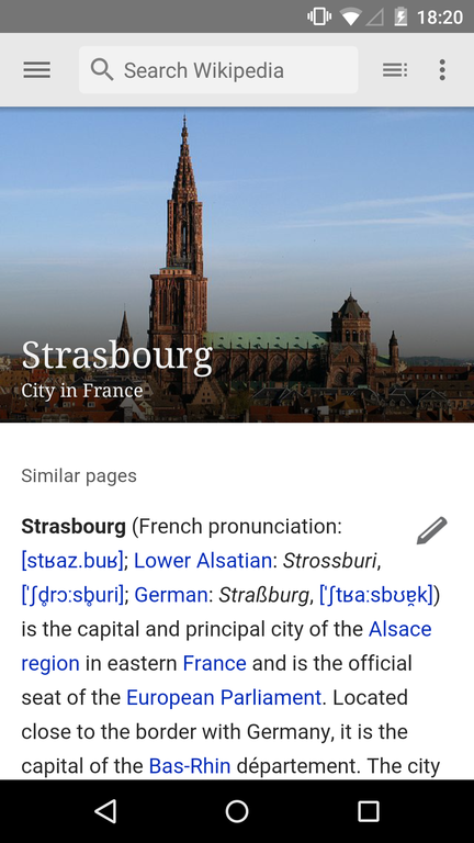 The Wikipedia app shows the article about Strasbourg on an Android device. New features like make it easier to access knowledge on the go. Photo by Jonathan Mart, licensed under CC-BY-SA-3.0