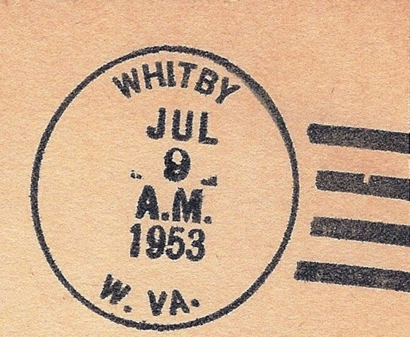 A US postmark from Whitby, Virginia confirms that this forgotten coal town once existed. Postmark is public domain.