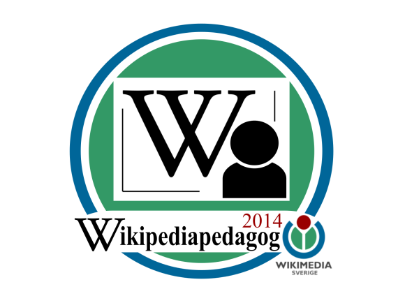 This digital badge acknowledges the skills and contributions of students and teachers using Wikipedia, in a new educational program led by Wikimedia Sverige. Pilot badge logo by Sara Mörtsell, freely licensed under CC BY-SA 3.0. See below for Wikipedia and Wikimedia logo license and trademark credits.