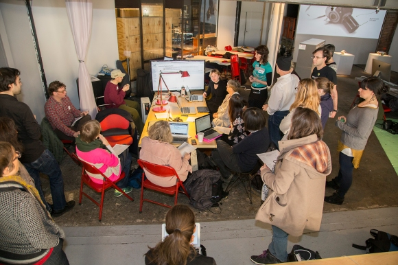 Volunteers learn to edit Wikipedia in a tutorial held at the Art+Feminism Edit-a-thon at Eyebeam in New York City. Photo by Michael Mandiberg, freely licensed under CC BY-SA 3.0.