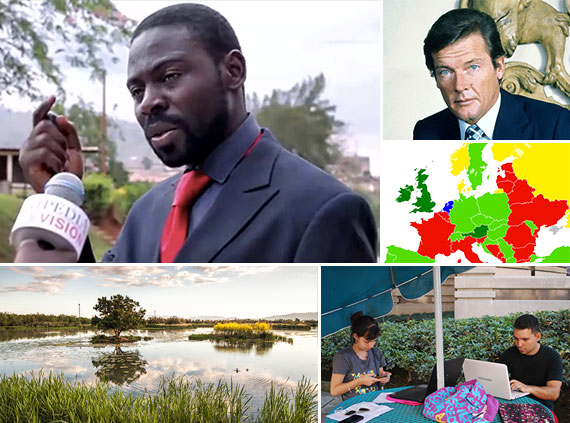 """""""Is Wikipedia a dance?"""" video by Michael Epaka, CC BY-SA 4.0. Roger Moore photo by Allan warren, CC BY-SA 3.0. Freedom of Panorama map by Quibik, CC BY-SA 3.0. """"Wiki Loves Earth"""" photo by Mikipons, CC BY-SA 3.0. Mexican Edit-a-thon photo by Thelmadatter, CC BY-SA 4.0. Collage by Andrew Sherman, CC BY-SA 4.0."""
