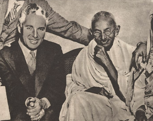 Chaplin and Gandhi, 1931. Photo by O Malho, public domain/CC0.