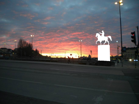 Sunset over Lake Mälaren with an 1854 statue of Carl XIV John of Sweden digitally removed.