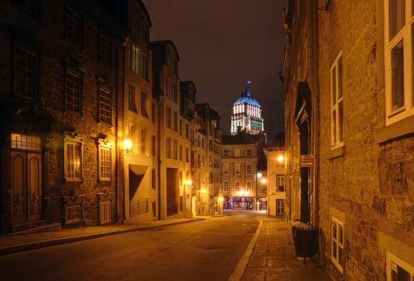 A street in Quebec City at night. Photo by Wladyslaw, CC BY-SA 3.0.